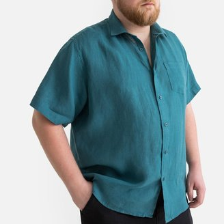 La Redoute Collections Plus Straight Linen Shirt with Short Sleeves