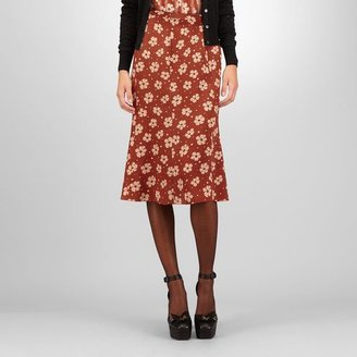 Bottega Veneta Appia poussin crepe silk marguerite print skirt