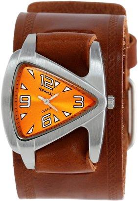 Nemesis Women's BHST024N Triangle Orange Triangle Brown Leather Cuff Band Watch