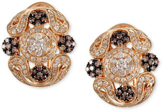 Effy Espresso by Brown (1/2 ct. t.w.) and White Diamond (5/8 ct. t.w.) Ornate Earrings in 14k Gold