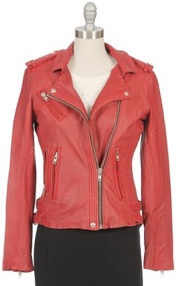IRO Han Leather Moto Jacket In Rouge