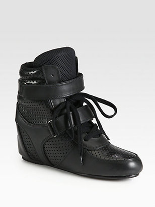 Junya Watanabe Double-Strap Perforated Leather Wedge Sneakers