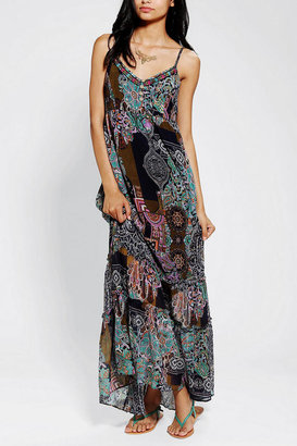 Urban Outfitters Band Of Gypsies Scarf-Print Chiffon Maxi Dress