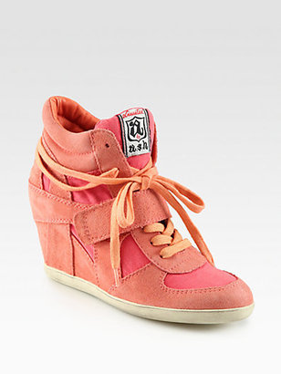 Ash Bowie Suede & Canvas Wedge Sneakers