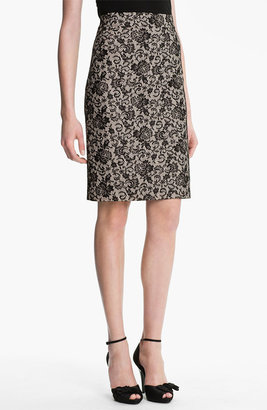 Kay Unger Back Godet Lace Jacquard Pencil Skirt