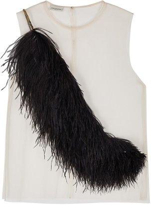 Dries Van Noten China Feather-embellished Tulle Top