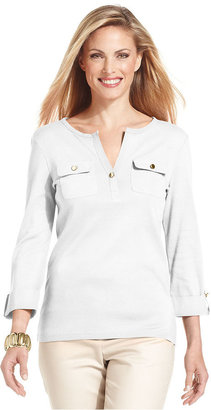 Charter Club Petite Top, Three-Quarter-Sleeve Henley