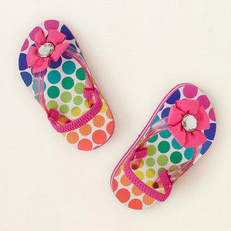 Children's Place Dot flower flip flops