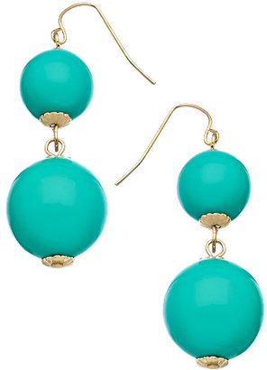Blu Bijoux Gold and Turquoise Double Drop Earrings