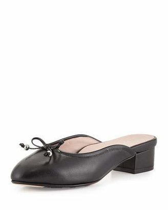 Taryn Rose Faigel Low-Heel Leather Mule, Black $249 thestylecure.com