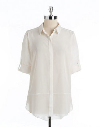 DKNY DKNYC Hi-Lo Button-Front Top