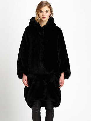 Acne Studios Faux Fur Hooded Oversized Coat