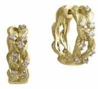 Effy 14K Yellow Gold 0.41TCW Diamond Twisted Hoop Earrings