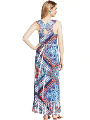 Style&Co. Printed Padded Maxi Dress