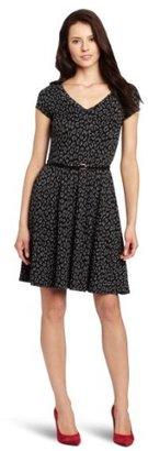 Only Hearts Club Women's Leopard Jacquard Cap Sleeve V-Neck Dress