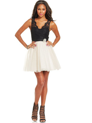 As U Wish Juniors' Tulle Lace Colorblock Dress