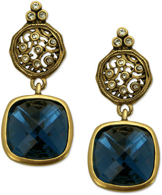 T Tahari Earrings, 14k Gold Plated Essentials Montana Blue Scroll Drop Earrings