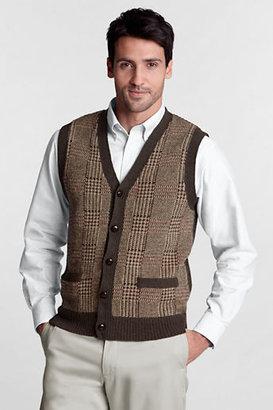 Lands' End Men's Regular Pattern Shorewood Button Vest