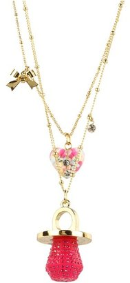 Betsey Johnson Candylane Toc Candy Ring 2 Row Necklace (Fuchsia/Antique Gold) - Jewelry