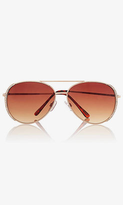Express Rhinestone Side Aviator Sunglasses