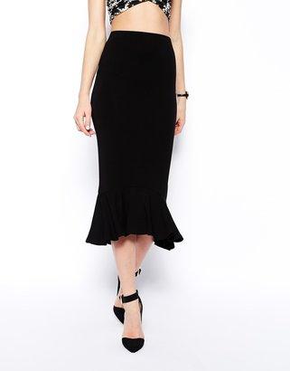 Asos Dropped Waist Skirt With Peplum Hem