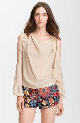 Haute Hippie Cutout Sleeve Silk Blouse