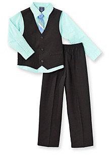Izod Boys' 2T-7 Black/Green 3-pc. Dressy Vest Set