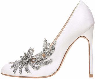 Manolo Blahnik Swan Embellished Satin Pump, White