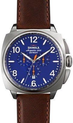 Shinola 46mm Brakeman Chronograph Watch, Blue/Brown $775 thestylecure.com