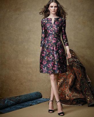 Oscar de la Renta 3/4-Sleeve Rose-Print Dress