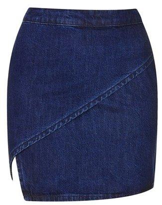 Topshop Moto Wrap Front Denim Miniskirt
