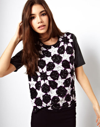 Asos T-Shirt with Star Embellishment and PU Sleeves