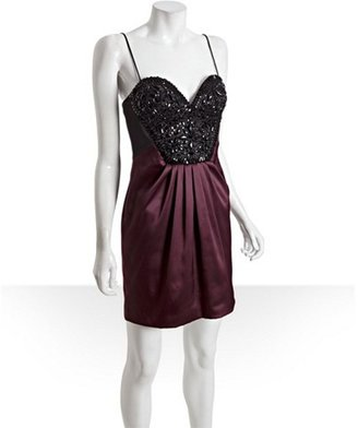 Mignon wild berry sateen stretch beaded sweetheart dress