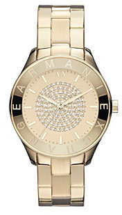 Armani Exchange A|X Ladies Gold Tone Watch with Gold Tone Dial & Center Hit of Glitz