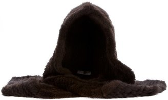 Yves Salomon mink hooded scarf