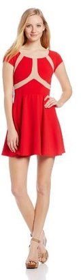 My Michelle Juniors Cap Sleeve Fit and Flare Dress with Expo