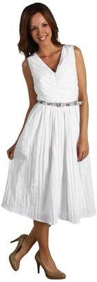 Ellen Tracy Ruched Fit Flare Dress (White) - Apparel