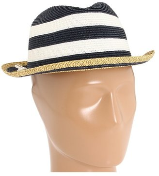 Laundry by Shelli Segal Narrow Braid Striped Fedora with Self Bow