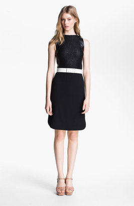 L'Agence Leather Bodice Crepe Dress