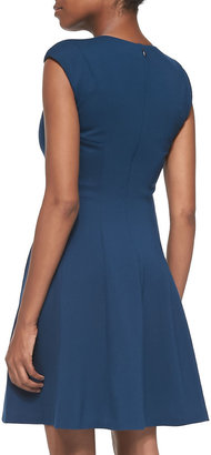 Rebecca Taylor Caley Cap-Sleeve Fit-and-Flare Dress