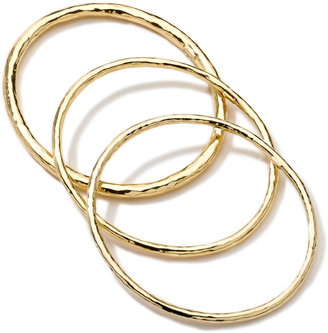 Ippolita Hammered 18k Gold Bangles, Set of 3