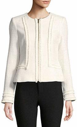 Karl Lagerfeld PARIS Zip Front Long Sleeve Blazer