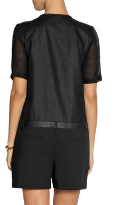 Tibi City cotton-blend, leather and mesh playsuit