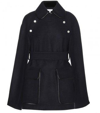 Victoria Beckham Denim Wool cape with leather detail