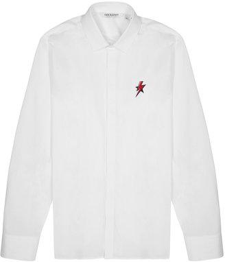 Neil Barrett White Lightning-print Poplin Shirt