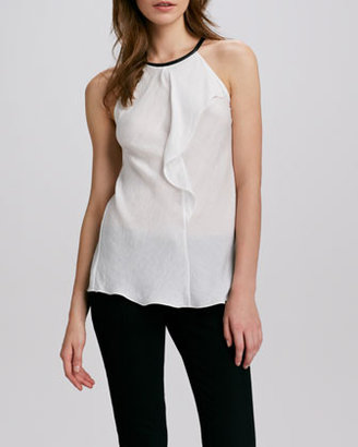Cut25 Sleeveless Leather-Neck Top