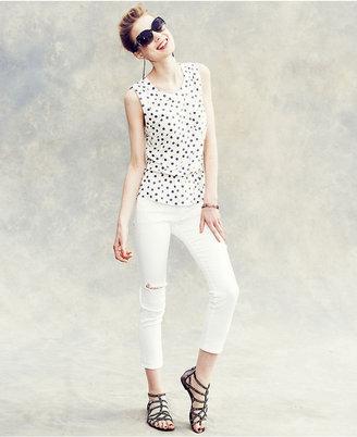 Else Jeans Skinny Jeans, White-Wash Destroyed