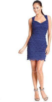 GUESS Dress, Sleeveless Lace Fringe Sheath