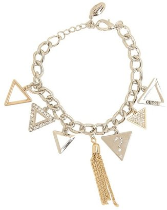 GUESS Triangle Logo Charms Bracelet with Tassel (Silver/Gold) - Jewelry