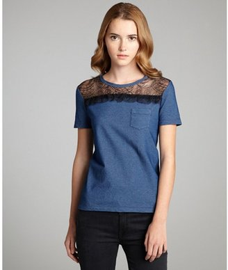 RED Valentino denim blue stretch lace detail crewneck t-shirt